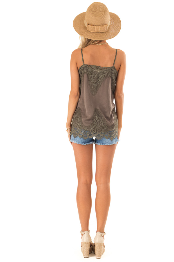Olive Spaghetti Strap Camisole Tank Top with Lace Trim back full body