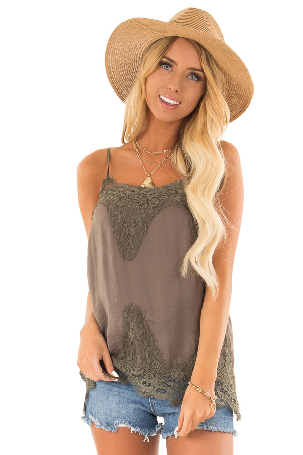 Olive Spaghetti Strap Camisole Tank Top with Lace Trim front close up