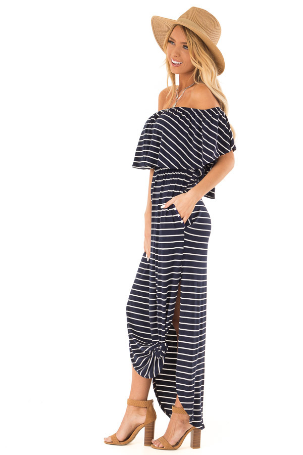 Midnight Blue and Ivory Striped Off Shoulder Maxi Dress side full body