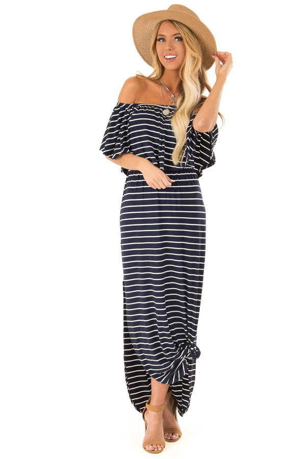 Midnight Blue and Ivory Striped Off Shoulder Maxi Dress front full body