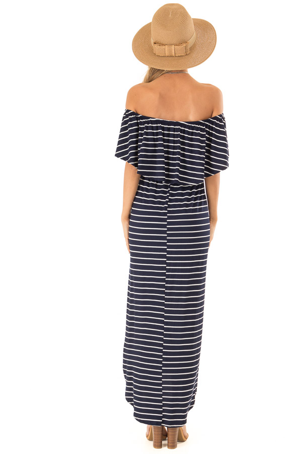 Midnight Blue and Ivory Striped Off Shoulder Maxi Dress back full body