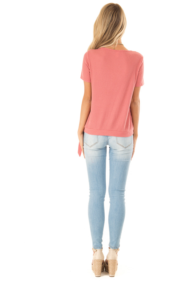 Strawberry V Neck Asymmetrical Button Up Top with Side Tie back full body