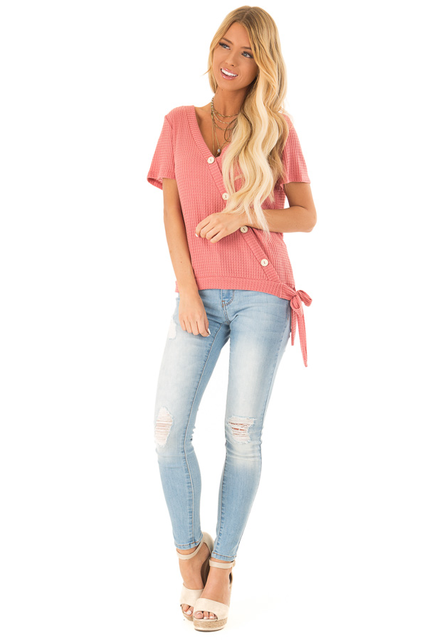 Strawberry V Neck Asymmetrical Button Up Top with Side Tie front full body