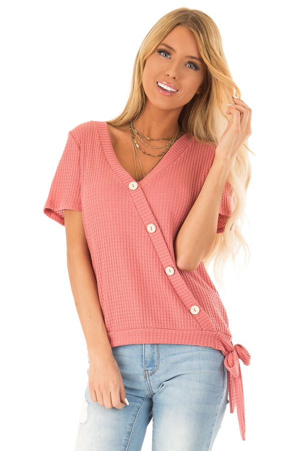 Strawberry V Neck Asymmetrical Button Up Top with Side Tie front close up