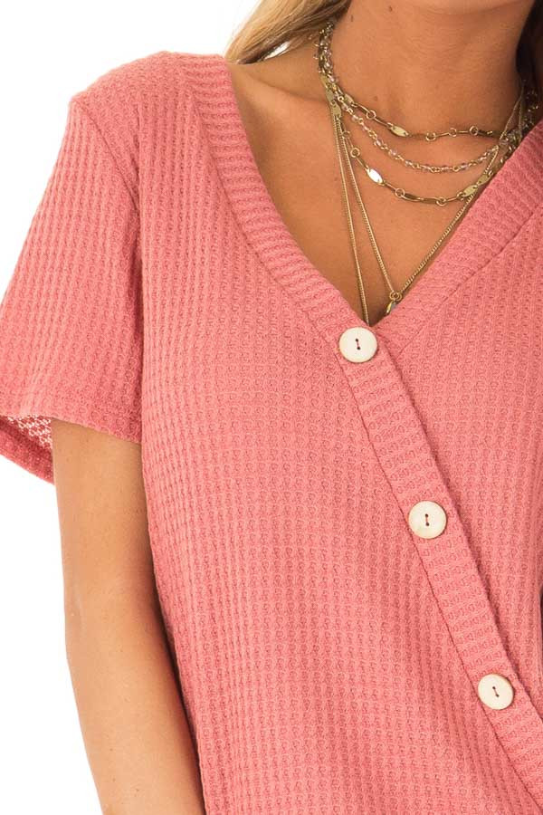 Strawberry V Neck Asymmetrical Button Up Top with Side Tie detail