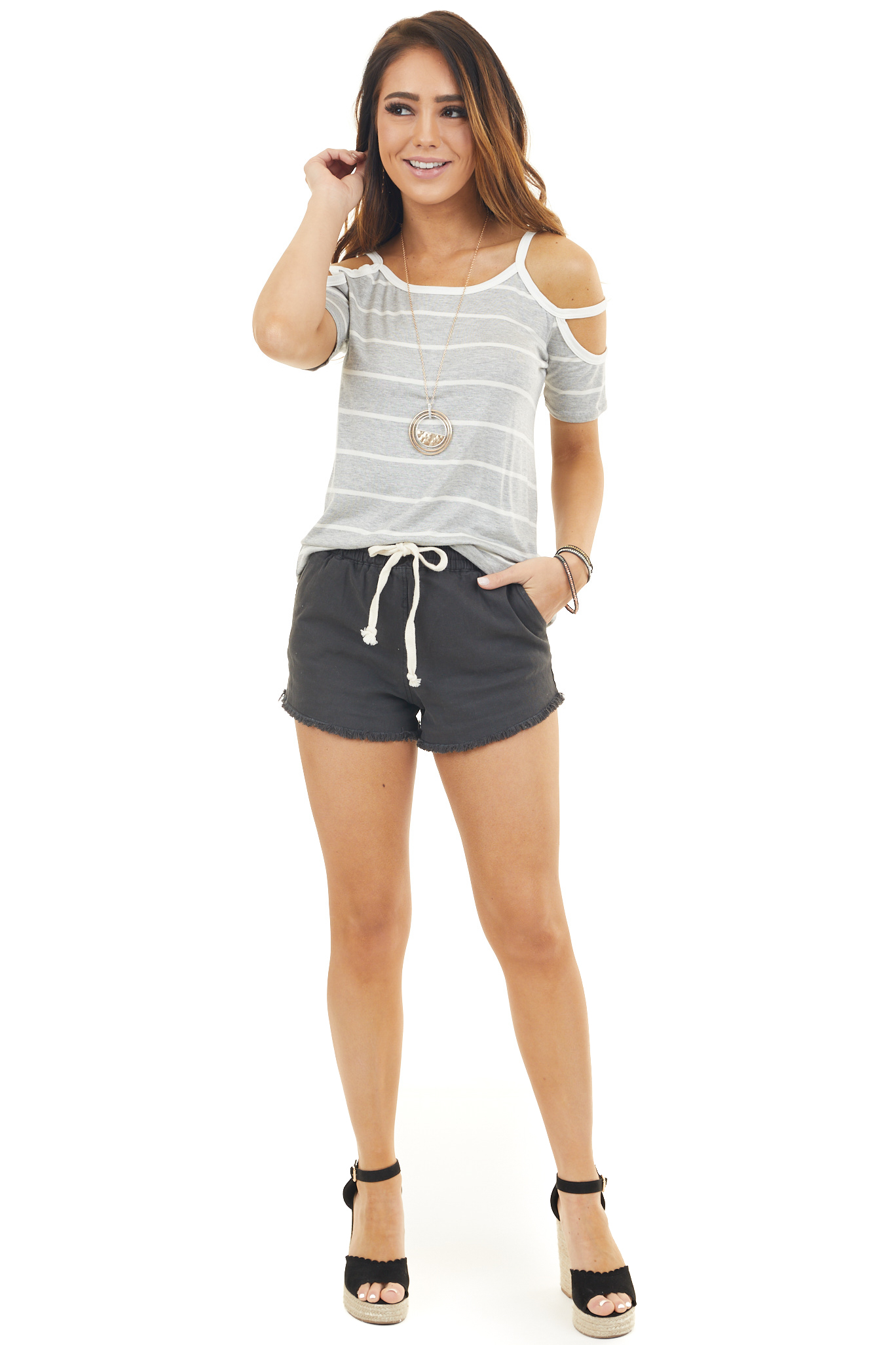 Heather Grey and Ivory Striped Open Shoulder Top with Strap