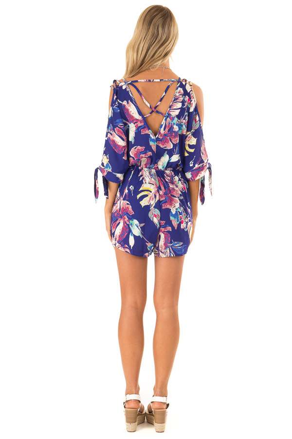 Royal Blue Strappy Surplice Romper with Slitted Half Sleeves back full body