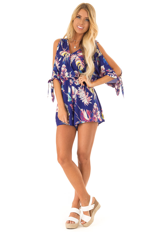Royal Blue Strappy Surplice Romper with Slitted Half Sleeves front full body