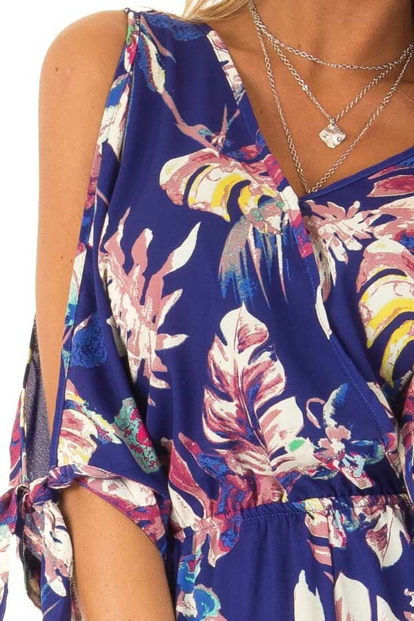 Royal Blue Strappy Surplice Romper with Slitted Half Sleeves detail