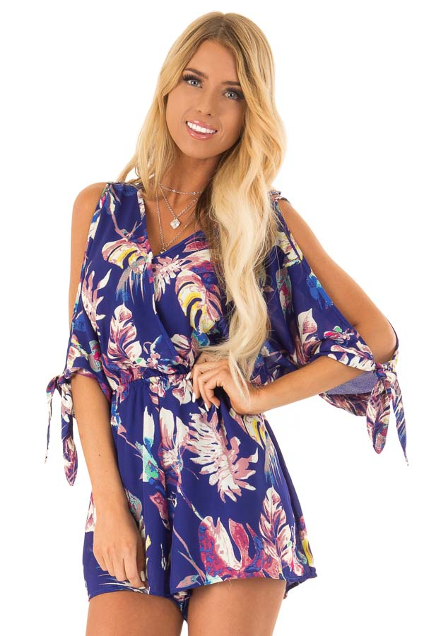 Royal Blue Strappy Surplice Romper with Slitted Half Sleeves front close up