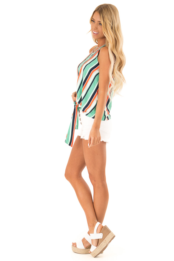 Seafoam Multicolor Striped Halter Tank Top with Front Tie side full body