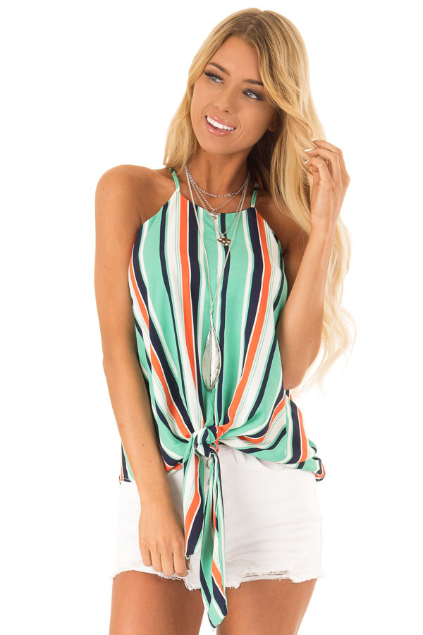 Seafoam Multicolor Striped Halter Tank Top with Front Tie front close up