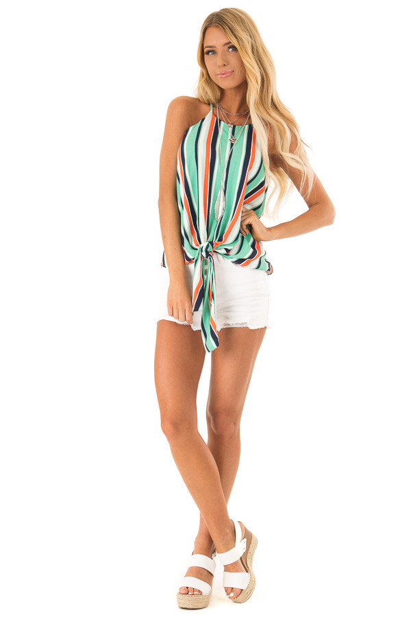 Seafoam Multicolor Striped Halter Tank Top with Front Tie front full body