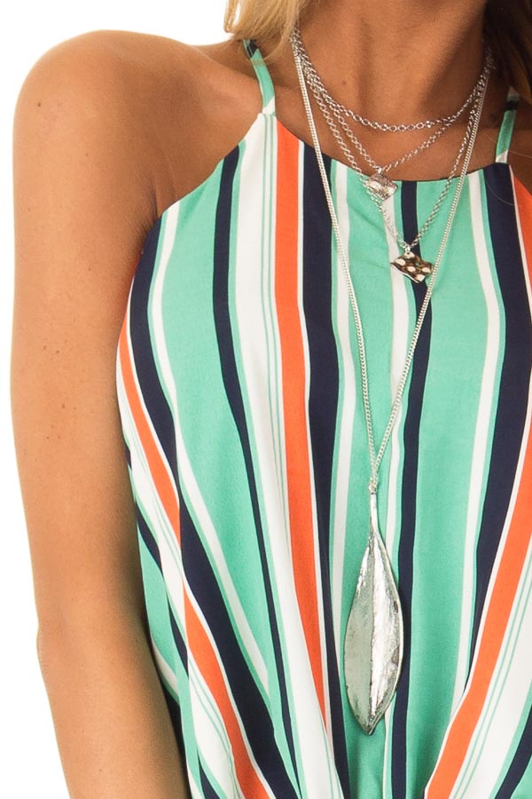 Seafoam Multicolor Striped Halter Tank Top with Front Tie detail