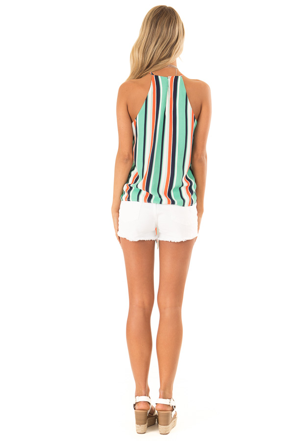 Seafoam Multicolor Striped Halter Tank Top with Front Tie back full body