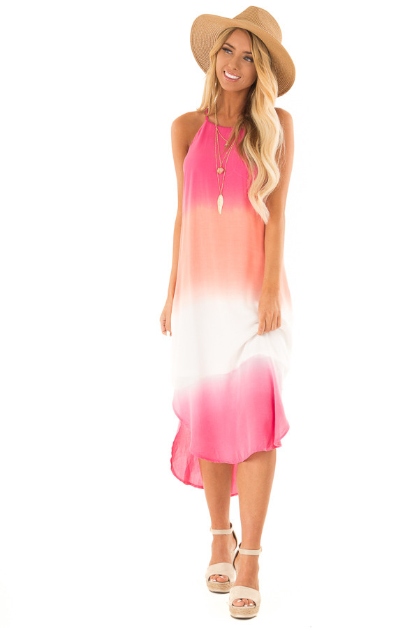 Hot Pink and Coral Ombre Sleeveless Midi Dress front full body