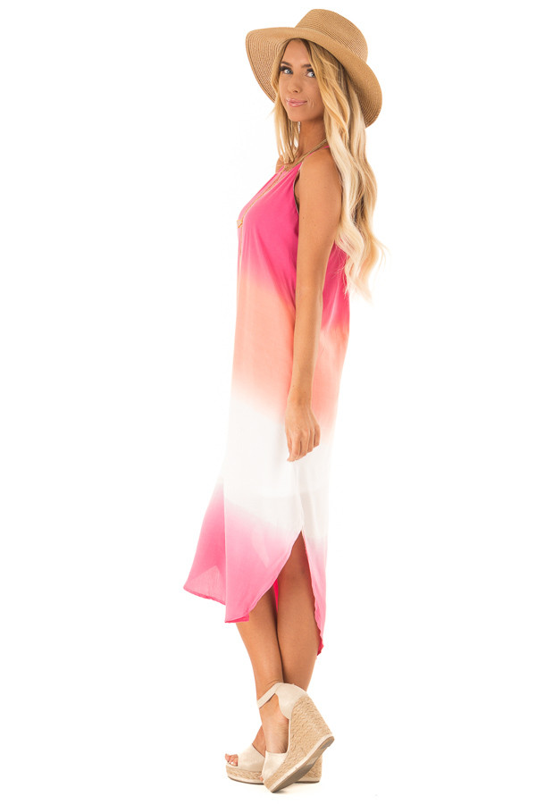 Hot Pink and Coral Ombre Sleeveless Midi Dress side full body