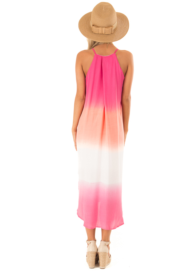 Hot Pink and Coral Ombre Sleeveless Midi Dress back full body