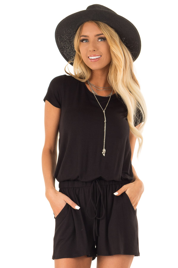 Black Short Sleeve Romper with Back Tie Detail and Waist Tie front close up