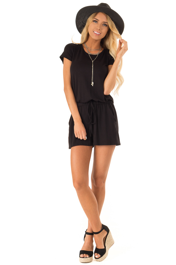 Black Short Sleeve Romper with Back Tie Detail and Waist Tie front full body