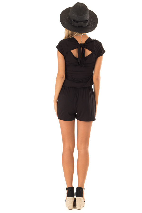 Black Short Sleeve Romper with Back Tie Detail and Waist Tie back full body