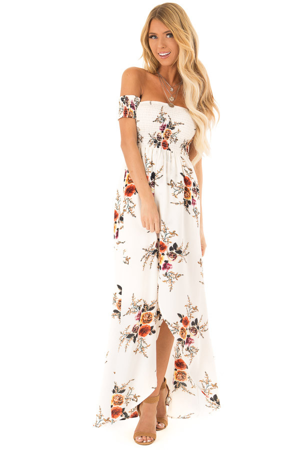 Ivory and Floral Print Off Shoulder Smocked Maxi Dress front full body