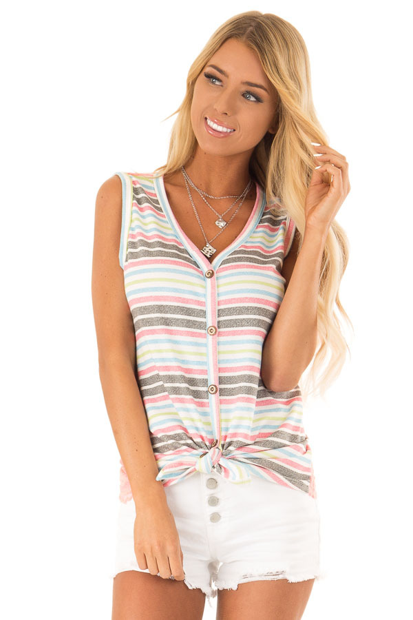 Ivory Tank Top with Neon Stripes and Hot Pink Lace Contrast front close up