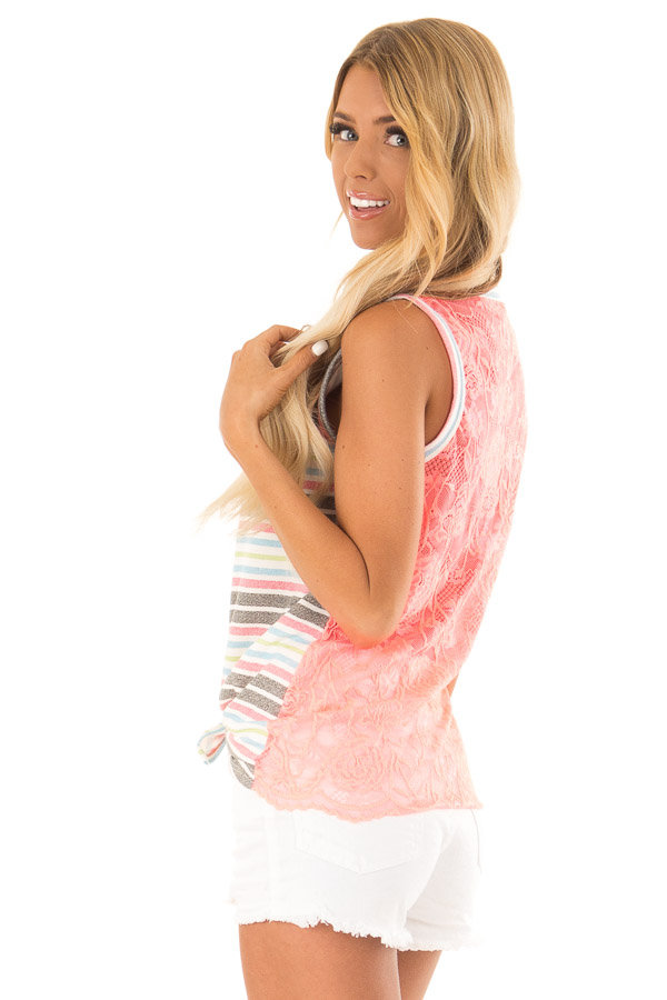Ivory Tank Top with Neon Stripes and Hot Pink Lace Contrast back side close up