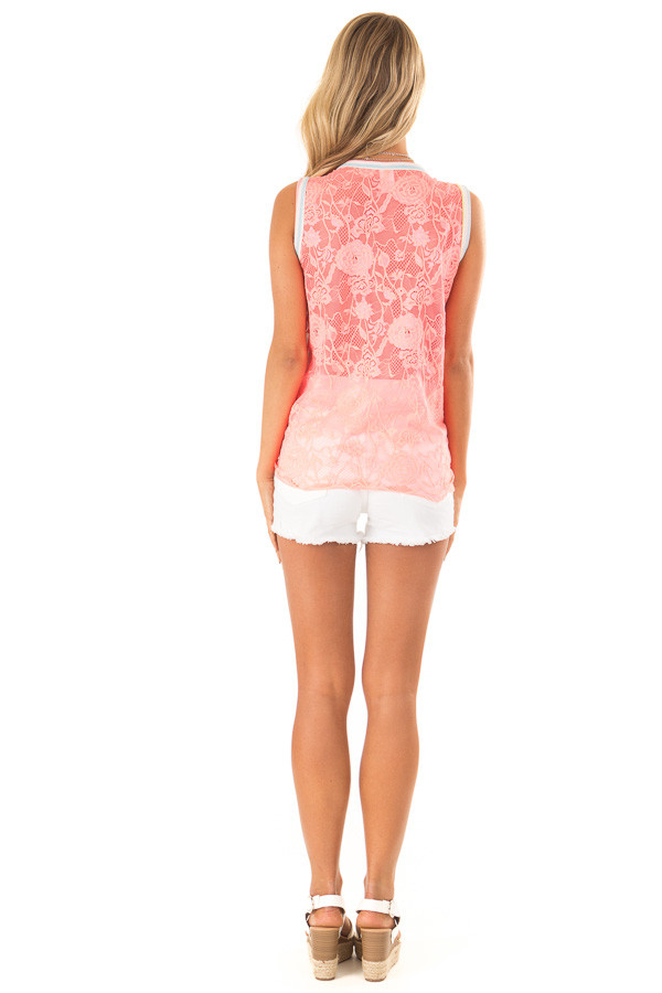 Ivory Tank Top with Neon Stripes and Hot Pink Lace Contrast back full body