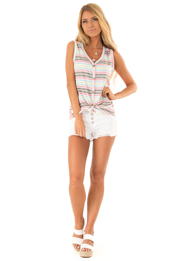 Ivory Tank Top with Neon Stripes and Hot Pink Lace Contrast front full body
