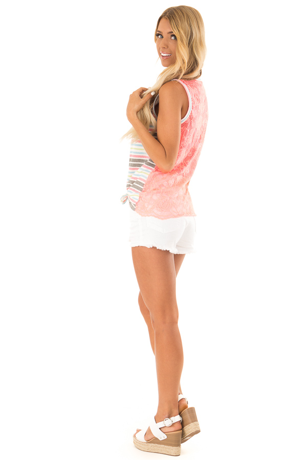 Ivory Tank Top with Neon Stripes and Hot Pink Lace Contrast side full body