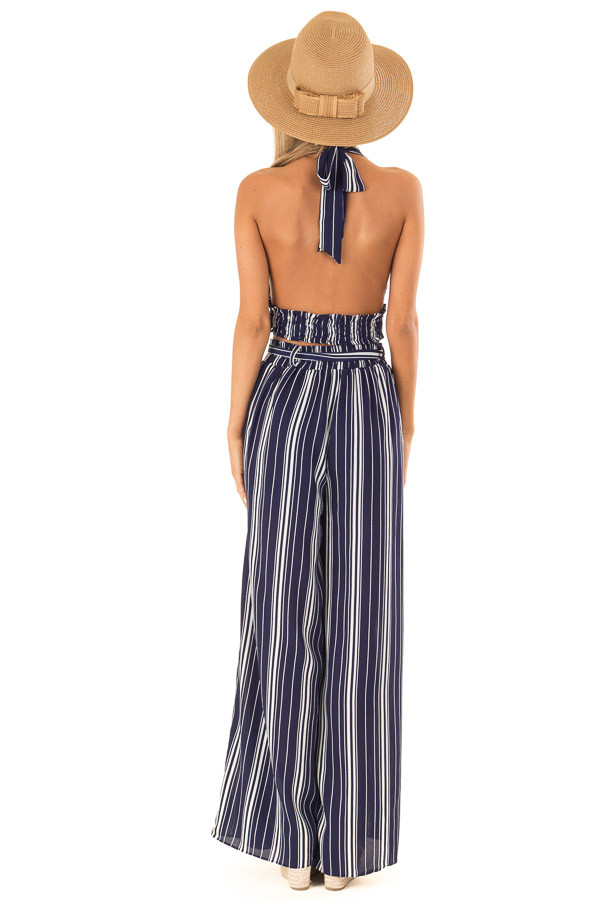 Navy Striped Halter Top and Wide Leg Pants Two Piece Set back full body