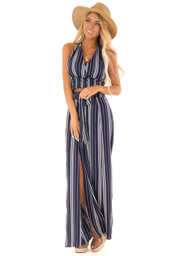 Navy Striped Halter Top and Wide Leg Pants Two Piece Set front full body