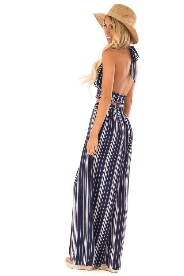 Navy Striped Halter Top and Wide Leg Pants Two Piece Set side full body