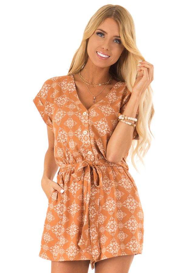 Apricot Button Up Moroccan Print Romper with Waist Tie front close up