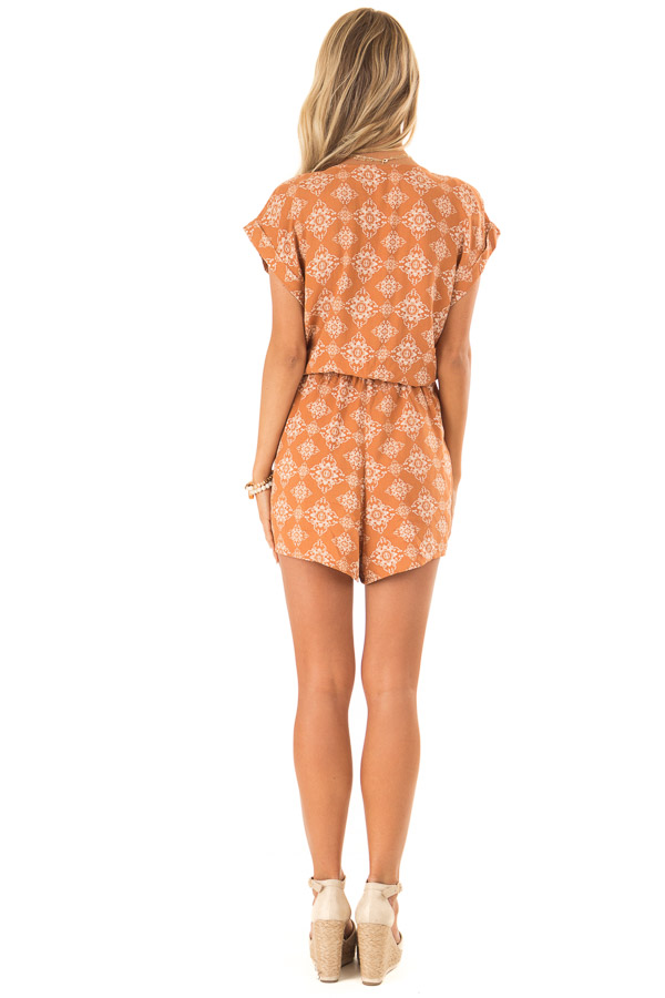 Apricot Button Up Moroccan Print Romper with Waist Tie back full body