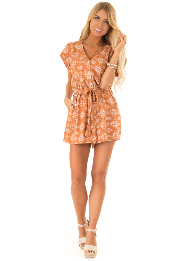 Apricot Button Up Moroccan Print Romper with Waist Tie front full body