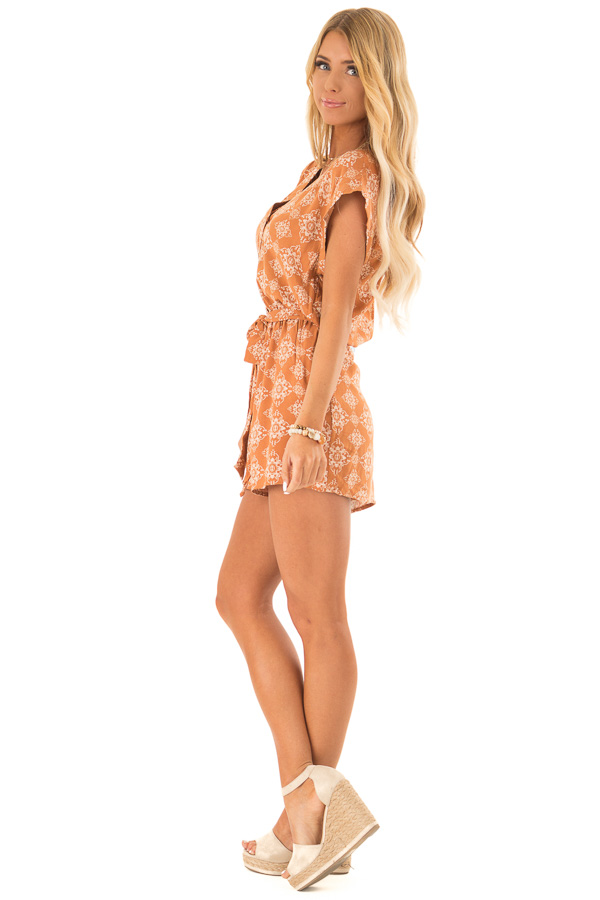 Apricot Button Up Moroccan Print Romper with Waist Tie side full body