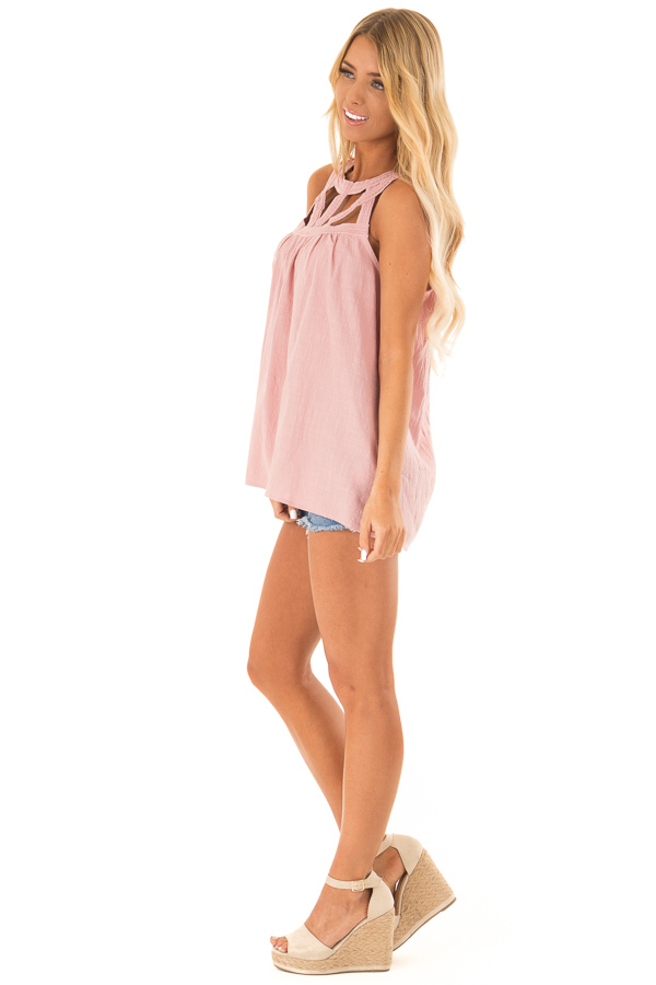Dusty Rose Trapeze Tank with Asymmetric Chest Cutouts side full body