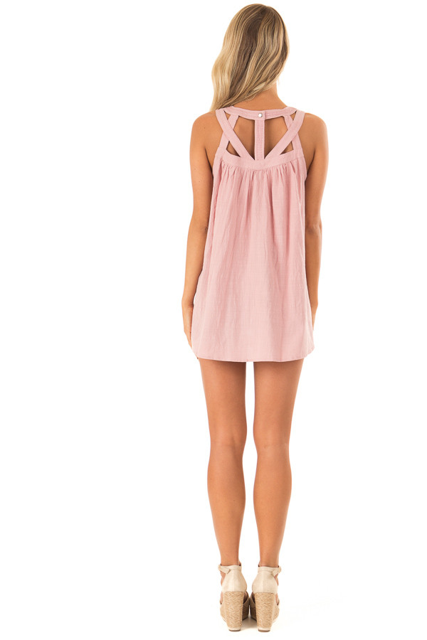 Dusty Rose Trapeze Tank with Asymmetric Chest Cutouts back full body