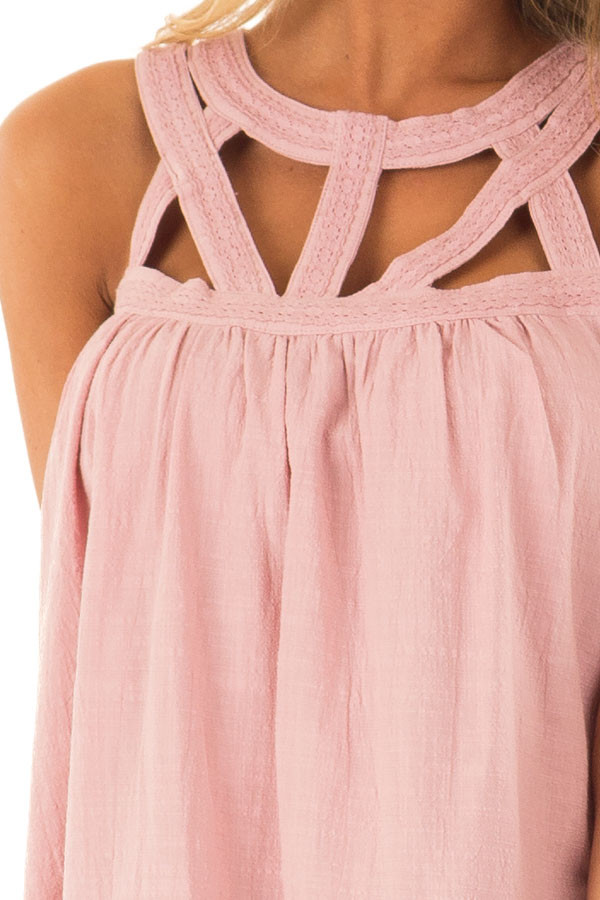 Dusty Rose Trapeze Tank with Asymmetric Chest Cutouts detail