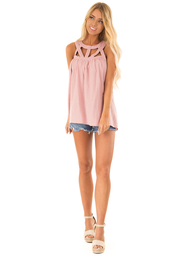 Dusty Rose Trapeze Tank with Asymmetric Chest Cutouts front full body