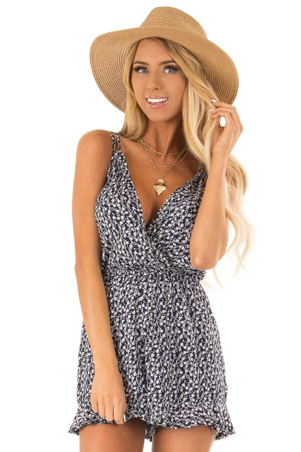 Midnight Blue Floral Sleeveless Romper with Back Tie front close up