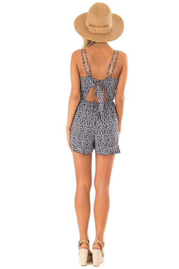 Midnight Blue Floral Sleeveless Romper with Back Tie back full body