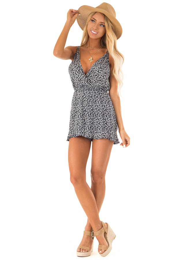 Midnight Blue Floral Sleeveless Romper with Back Tie front full body