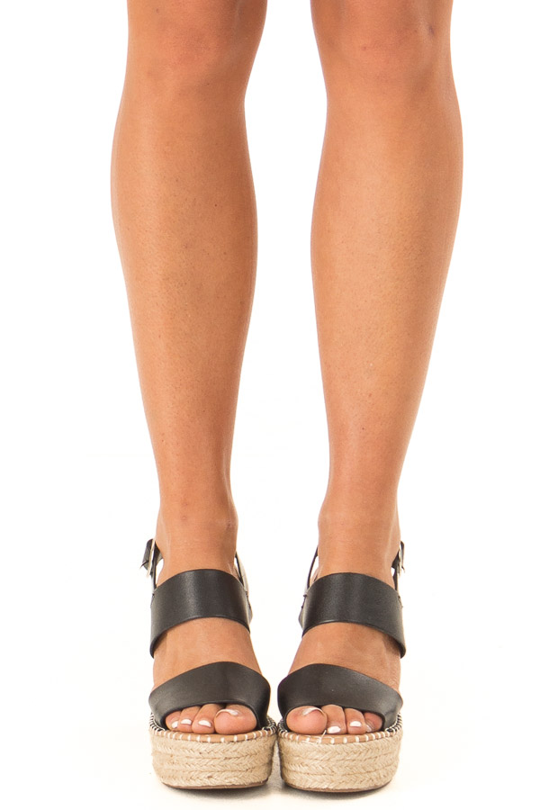 Midnight Black Espadrille Wedge Sandals with Ankle Strap front view