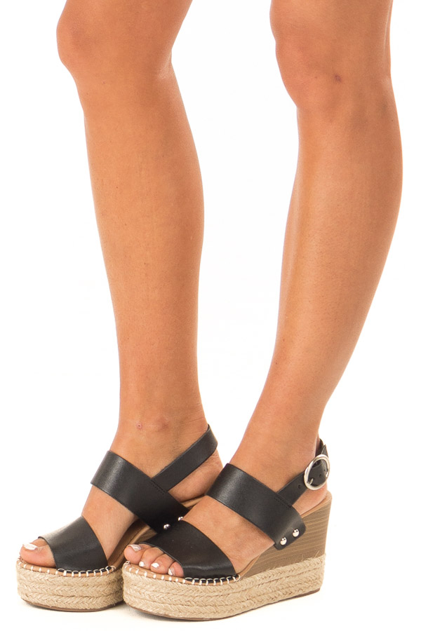 Midnight Black Espadrille Wedge Sandals with Ankle Strap side view
