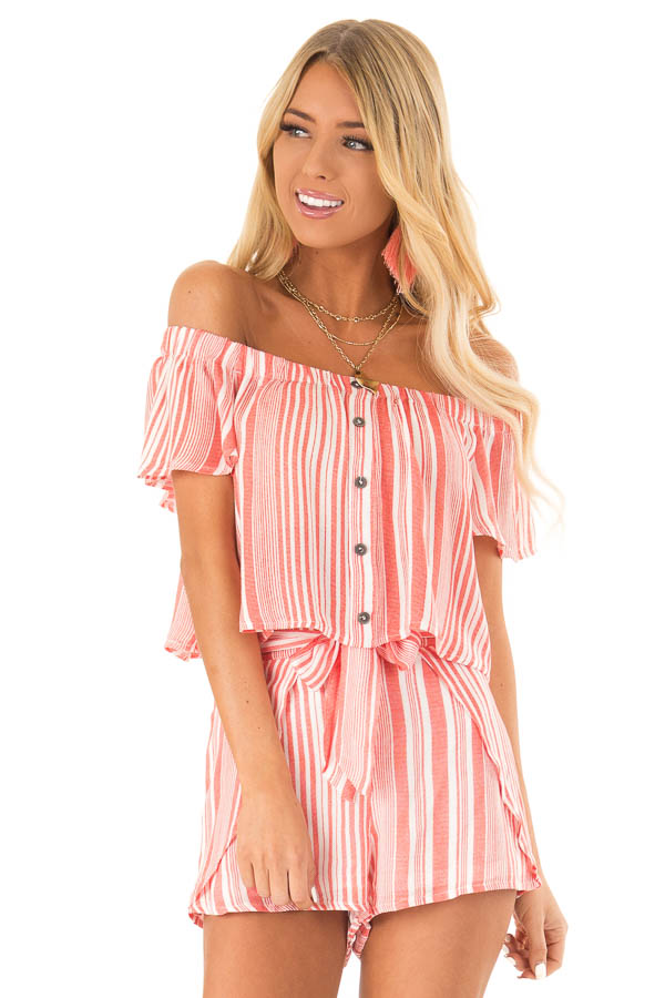 Coral Striped Off the Shoulder Top and Shorts Two Piece Set front close up