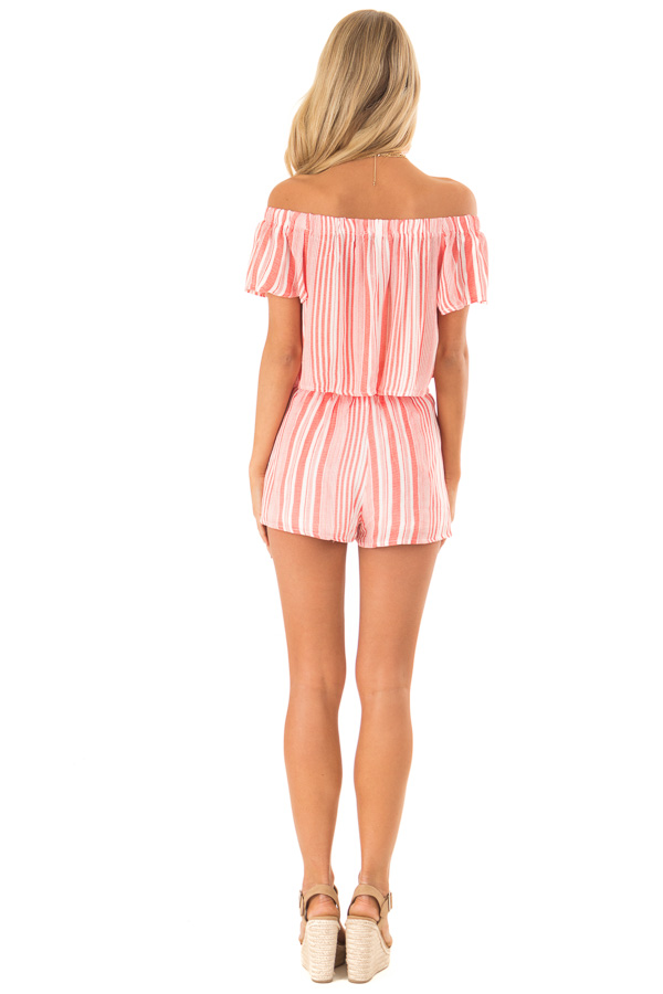 Coral Striped Off the Shoulder Top and Shorts Two Piece Set back full body