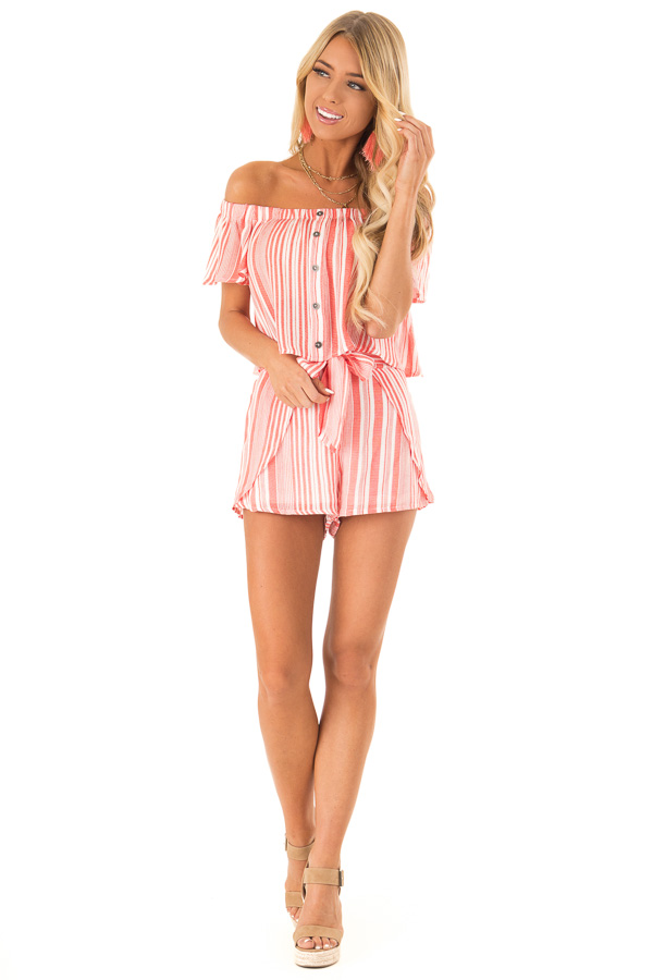 Coral Striped Off the Shoulder Top and Shorts Two Piece Set front full body
